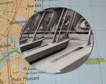 Magnet or Pin, Skee Ball black & white, arcade, classic game, boardwalk, Jersey shore summer