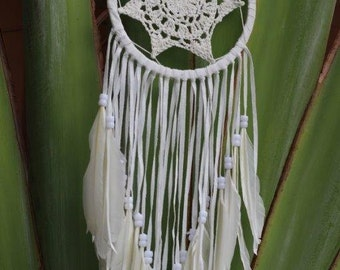 White  Crochet Dream Catcher with feathers and white leather fringes