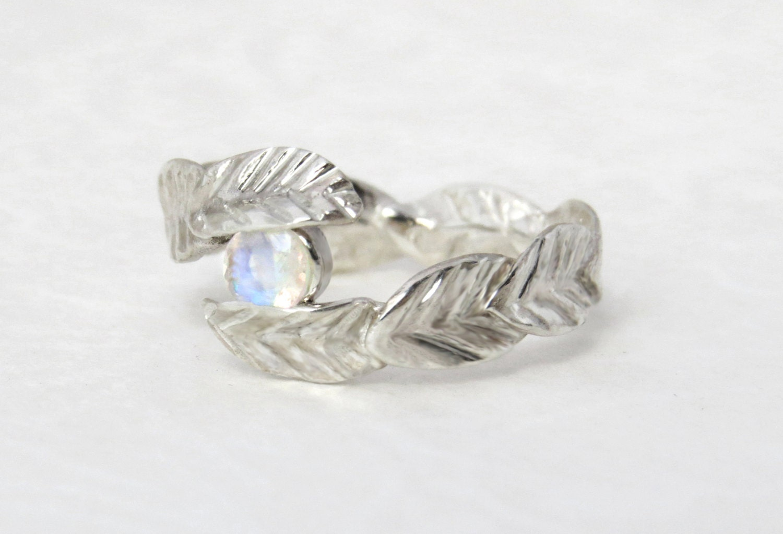 rainbow moonstone ring unique leaf ring moonstone engagement