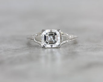 Asscher Cut Diamond in Art Deco Architectural Engagement Ring, 18 Karat White Gold ZMD6V3-P
