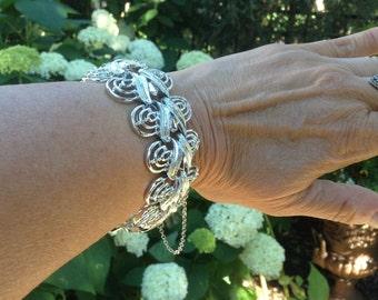 1950s Vintage Bracelet Coro Pegasus Wide Silver Links