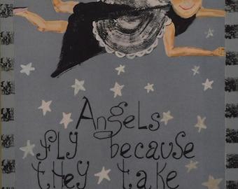 "HANDMADE WALL HANGING--Hand-painted ""Angel Go Lightly"", Home Decor Wall Art"