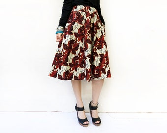 African Print Midi Skirt, Red Floral Skirt, Elegant Fashion, Leaf Print Skirt, Skirts for Women, Burgundy Skirt, Pocket Skirt / XS