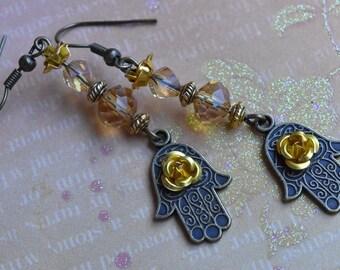 Hamsa earrings. Rose flower hamsa hand earrings. Rose earrings.Hand earrings. Spiritual earrings. Kabbalah earrings. Hannuka earrings