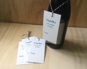 vintage inspired paper gift / wine tags, thanks for having us over, wine bottle neck tags, hostess gift