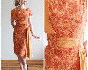 Peak Foliage Dress * 1950s wiggle dress with sash * Size 0-2