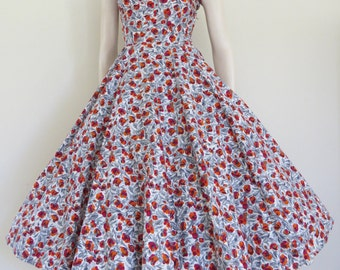 Gorgeous 50s Red Orange and Grey Floral Cotton Party Dress / Garden Party / Small