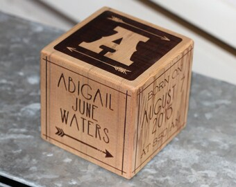 Hipster Baby Block Personalized Wood Baby Block, Birth Block, New Baby Gift, Engraved Gift on solid wood