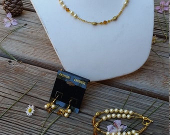 Amber Set of necklace, bracelet, and earrings- amber and gold pearls and bicones-choker necklace-double strand bracelet-small earring