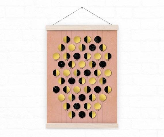 Wall calendar 2017 / Just Moons II Pink Calendar 2017 / lunar calendar - custom / homedecor
