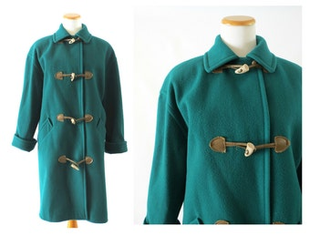 Toggle Coat Jacket Teal Green Long Vintage Peacoat Mod Style 1970s 70s Wool Warm Autumn Fall Winter