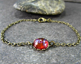 Dragons Breath Opal Bracelet with Oxidized Brass Chain- Gothic Jewelry- Valentines Day Gift for Him