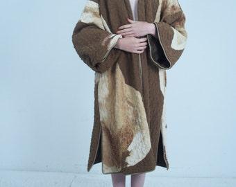 MICHAEL VOLLBRACHT - 1970s Leather & Silk Reversible Coat