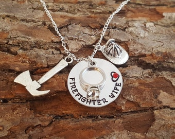 Firefighter Necklace - Firefighter Wife - Firefighter Girlfriend - Firefighter Mom - Fireman - Fireman Wife Jewelry - My Hero Necklace