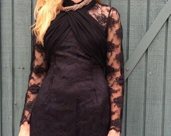 Vintage Gothic 1960s Black Lace Bandeau Wrap Front LBD Minidress S