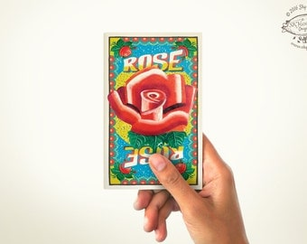 ROSE Mini Note Book | PLAIN or RULED Paper | 60 Pages | Matchbox inspired Pocket Diary | Indian Pop Art Stationery Sketchbook Cultural Gift