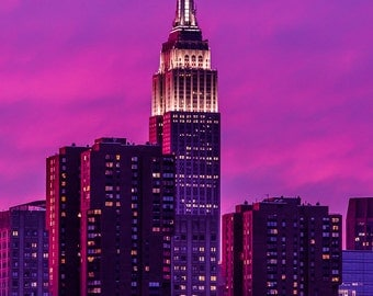 Empire State Building Sunset - New York City - Purple