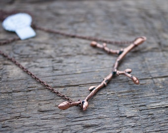 Copper branch necklace. Electroformed twig pendant.  Eco friendly jewelry