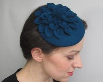 Teal Fascinator Hat - Teal Fascinator, Teal Felt Hat, Bridal Hat, Wedding Hat, Formal Hat, Vintage Tea Party