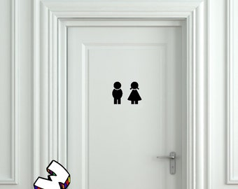 bathroom boy sign. boy and girl toilet sign bathroom door sticker decal