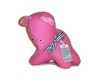 Handmade Bright Pink Bear - Felted Sweater Stuffed Animal - Upcycled Puppy Dog Plushie - Eco Friendly Plush Toy