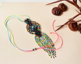 Bohemian fringe necklace, rainbow, black, macrame necklace, tassel, micro-macrame, bright, colorful, beaded, boho chic, free spirit, tribal