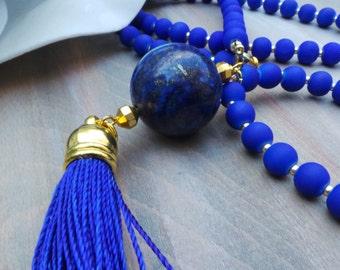 Blue tassel necklace. Cobalt blue tassel necklace. Tassel necklace with lapis lazuli gemstone. Long beaded tassel necklace.