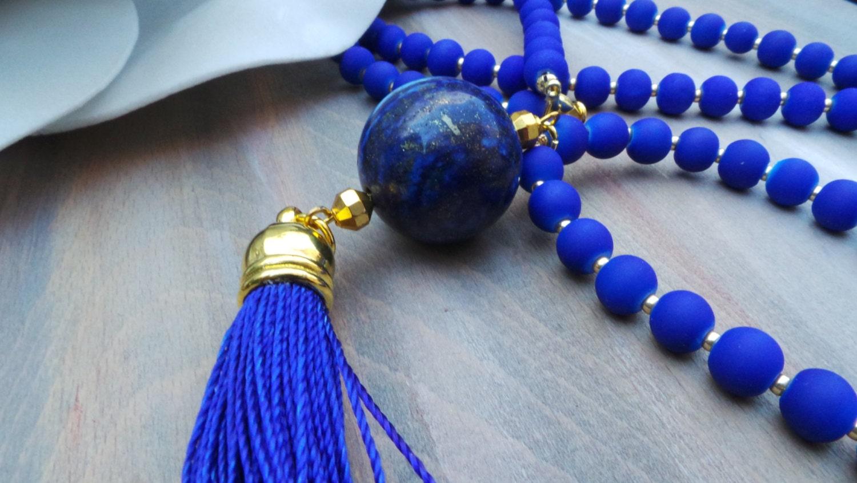 blaue quaste halskette kobalt blau quaste halskette quaste. Black Bedroom Furniture Sets. Home Design Ideas