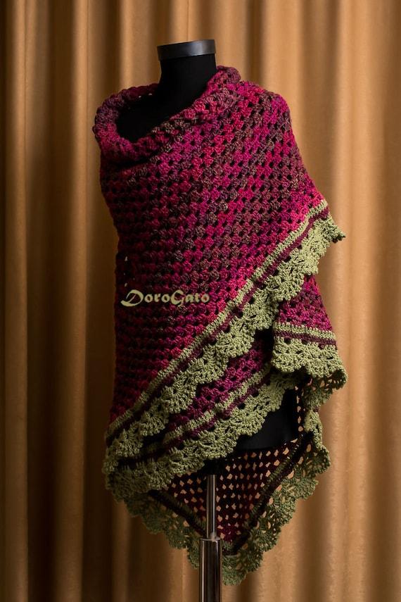 Lace Triangle Shawl Crochet Pattern : Crochet shawl with trim Triangle lace shawl Lace shawl by ...