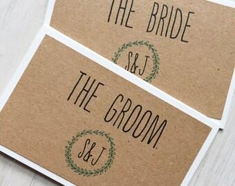 Wedding place card - green laurel wreath