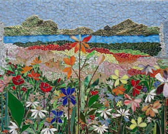 5FT MOSAIC ART PANEL Hand Cut Mosaic Wall Art Stained Glass Hawaii  Landscape Indoor Outdoor Patio