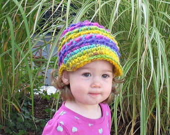 Toddler Girl Hat, Newborn Girl Hat, Crochet Newsboy Hat, Girls Newsboy, Girls Brim Hat, Baby Shower Gift, Newborn Photo Prop, Chunky