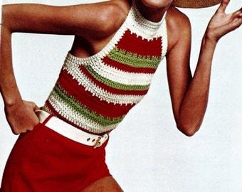 Halter Top Vintage Crochet Pattern Download