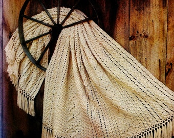Fisherman Afghan in Crochet Vintage Crochet Pattern Download