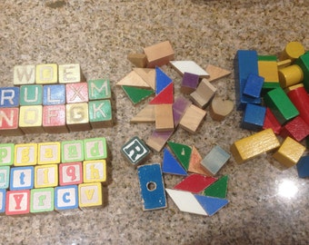 32 Vintage Children's Alphabet Blocks in 2 Styles with extra Building Blocks