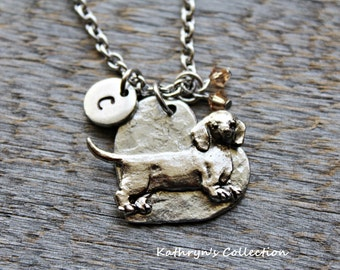Dachshund Necklace, Dachshund Jewelry, Heart Dog Jewelry, Dachshund Gift, Dog Lover Gift