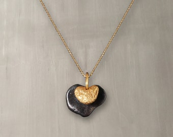 Underwater Hearts Beach Pebbles Pendant Necklace 24K Gold & Black Rhodium Plated Bronze/Two Tone Pebbles Necklace/Nature Jewelry – 013