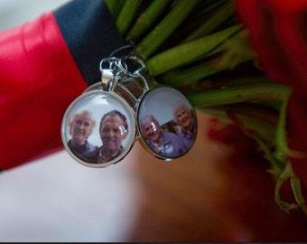 Round Charms, Custom Photo Wedding Bouquet Charms, two sided charms, custom photo charms, assorted sizes