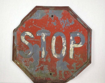 Vintage Stop Sign 1950s Stop Sign Antique Stop Sign Old Metal Stop Sign Heavy Embossed Metal Stop Sign 1950s Stop Sign