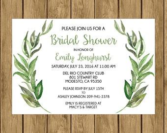 Olive Branch Bridal Shower Invitation, Printable Bridal Shower Invitation, Digital Bridal Shower Invitation, Olive Branch Bridal Shower, 013