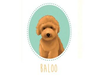 Dog portrait Pet portrait, Custom Dog Illustration, Personalized Wall decor Dog illustration. Custom dog. Digital file only. Printable art