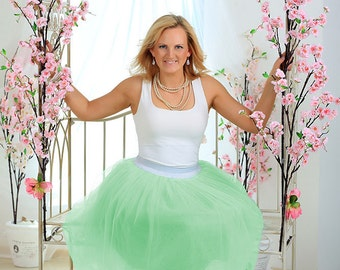 Apple green tulle skirt women light green tulle skirt for girl tulle skirt bridesmaid tulle skirt bridal shower tulle