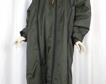 rare vintage ISSEY MIYAKE zippered Windcoat with hood/dark olive green/ multi-zippered 2 layer design: Japan size S- fits everyone