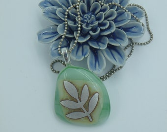 Kiln fused glass and silver leaf necklace