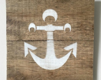 "Anchor Sign - Reclaimed Pallet Wood - Nautical Wall Art  ~10.5"" x ~10.5"""