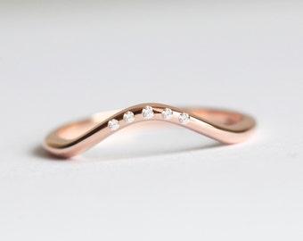 rose gold wedding ring rose gold diamond ring rose gold diamond wedding band - Rose Gold Diamond Wedding Ring