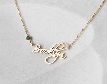 Custom Name Necklace with birthstone - Personalized Name Jewelry - Children Names Necklace - Family Gifts - #PN02F40 MD