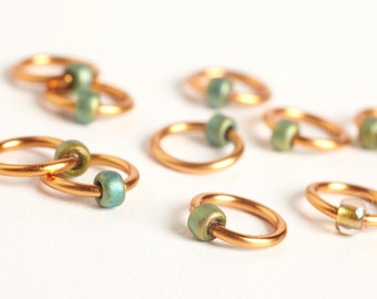 Small Dots - Fits Needles up to 4mm - Copper/Green-Gold