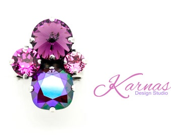 PINKS & PURPLES 12/8/6MM Crystal Cushion Cut Adjustable Ring Swarovski Elements *Rhodium or Antique *Karnas Design Studio *Free Shipping