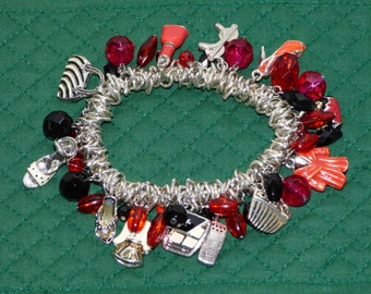 Fashionista Charm Bracelet - Silver Links and Enamel Charms - Sweet - Purses - Shoes - Dresses - Colored Enamel Charms and Beads - Wow!